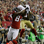 Atlanta Falcons' Roddy White (84) breaks up a pass intended for San Francisco 49ers' Carlos Rogers during the second half of the NFL football NFC Championship game Sunday, Jan. 20, 2013, in  …