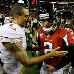 San Francisco quarterback 49ers Colin Kaepernick, left, speaks with Atlanta Falcons quarterback Matt Ryan during the second half of the NFL football NFC Championship game Sunday, Jan. 20, 20 …