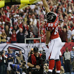 Atlanta Falcons' Tony Gonzalez reacts after catching a 10-yard touchdown pass during the first half of the NFL football NFC Championship game against the San Francisco 49ers Sunday, Jan. 20, …