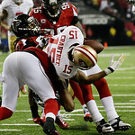 Atlanta Falcons' Dunta Robinson strips the ball from San Francisco 49ers' Michael Crabtree during the second half of the NFL football NFC Championship game Sunday, Jan. 20, 2013, in Atlanta. …