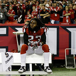 Atlanta Falcons' Dunta Robinson sits on the team bench after being defeated by San Francisco 49ers in the NFL football NFC Championship game Sunday, Jan. 20, 2013, in Atlanta. The 49ers won  …