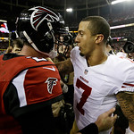 San Francisco 49ers' Colin Kaepernick, right, talks to Atlanta Falcons' Matt Ryan after the NFL football NFC Championship game Sunday, Jan. 20, 2013, in Atlanta. The 49ers won 28-24 to advan …