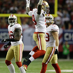 San Francisco 49ers' Aldon Smith (99) celebrates after recovering a fumble during the second half of the NFL football NFC Championship game against the Atlanta Falcons Sunday, Jan. 20, 2013, …