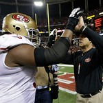 San Francisco 49ers head coach Jim Harbaugh celebrates with Ray McDonald after the NFL football NFC Championship game against the Atlanta Falcons Sunday, Jan. 20, 2013, in Atlanta. The 49ers …