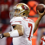 San Francisco 49ers quarterback Colin Kaepernick passes the ball during the first half of the NFL football NFC Championship game against the Atlanta Falcons Sunday, Jan. 20, 2013, in Atlanta …