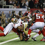 San Francisco 49ers' Michael Crabtree (15) loses the ball neat the goal line during the second half of the NFL football NFC Championship game against the Atlanta Falcons Sunday, Jan. 20, 201 …