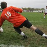 14OCT09  Colton Steinbrenner, Buckeye goalie, stops a penalty kick from Wellington #7 Kyle Bartolovich.  photo by CHuck Humel
