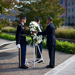 President Barack Obama places a wreath at the Pentagon 9/11 Memorial Wednesday during a ceremony to mark the 12th anniversary of the 9/11 attacks. (AP Photo/Pablo Martinez Monsivais)