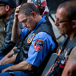 Retired FDNY Marshal Ernie Medaglia, of Bronxville, N.Y., who was at the attacks at the World Trade Center on Sept. 11, 2001, is emotional as he listens to New York Gov. Andrew Cuomo at a ce …
