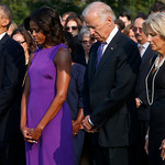 President Barack Obama, first lady Michelle Obama, Vice President Joe Biden, and Jill Biden stand for a moment of silence on the South Lawn of the White House in Washington Wednesday to mark …