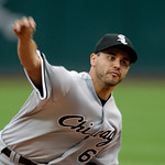 Chicago White Sox's Carlos Torres pitches against the Cleveland Indians in the first inning of the first game of a baseball doubleheader Wednesday, Sept. 30, 2009, in Cleveland. (AP Photo/Ma …