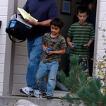 ** CORRECTS ID'S OF CHILDREN ** Richard Heene, left, leads his sons Falcon, center, and Ryo out of their home in Fort Collins,, Colo., early on Sunday, Oct. 18, 2009. (AP Photo/David Zalubow …