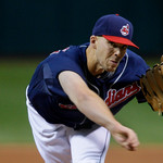 Cleveland Indians' Justin Masterson pitches against the Chicago White Sox in the first inning of the second game of a baseball doubleheader Wednesday, Sept. 30, 2009, in Cleveland. (AP Photo …