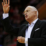 Charlotte Bobcats head coach Larry Brown yells to players during the first quarter of a preseason NBA basketball game against the Cleveland Cavaliers, Tuesday, Oct. 6, 2009, in Cleveland. Th …